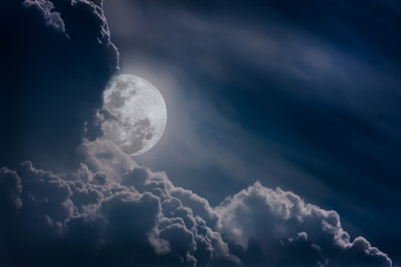 Nighttime sky with clouds, bright full moon would make a great background