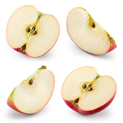 Apple slices isolated on white. Collection. With clipping path
