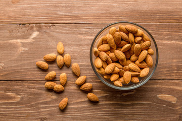 Almonds in a glass Cup on the table