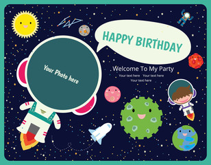 happy birthday invitation card design. Spaceman