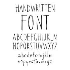Hand drawn doodle abc, grunge alphabet. Vector illustration.