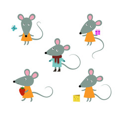 Cute mouses characters on a white background.Vector.