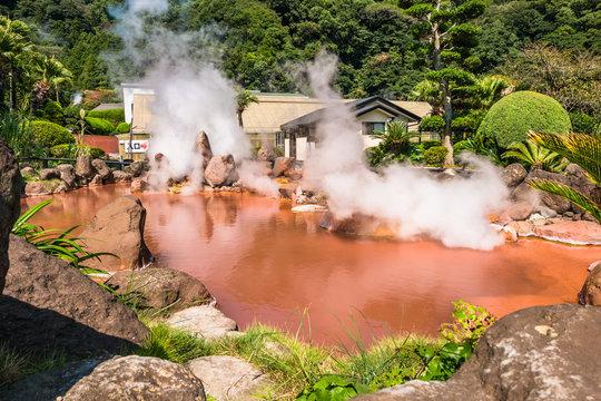 Chinoike Jigoku.or Blood pond hell in Beppu, Oita, Japan.