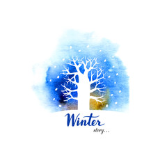 Winter card with a tree in the snow. Vector design.