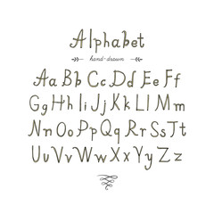 Hand drawn doodle alphabet , vector illustration.