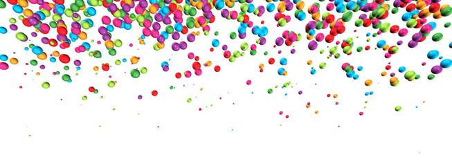 3D-Banner: Farbenfroher Perlen-Regen mit Textfreiraum
