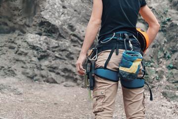 Foto op Aluminium Alpinisme Woman with climbing outfit