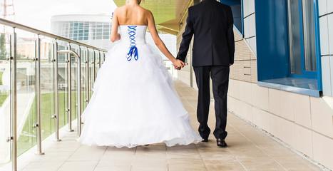 Nice young wedding couple outdoors
