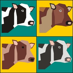 Four cows poster painting in pop art style