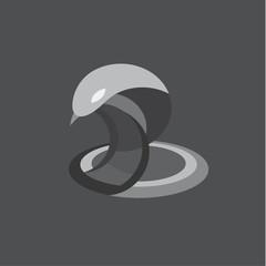 Cobra snake vector illustration reptile flat on the geometric construction of modern design