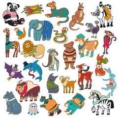 cartoon doodle animals set