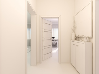 3D visualization of interior design hall in a studio apartment