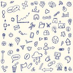 doodle icons, hand, pen, cartoon, set