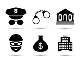 Criminal and prison vector icons set