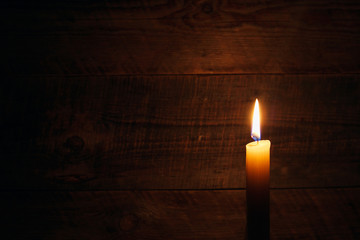 candle on old wooden background Wall mural
