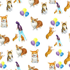 Corgi dog pattern. The watercolor drawing. Can be used for postcards, prints and design