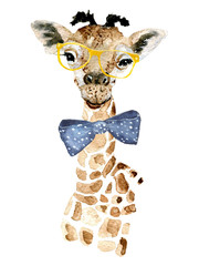 Giraffe hipster. Watercolor painting. Can be used for postcards, prints and design.