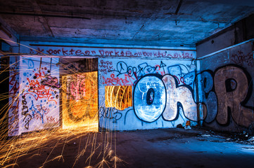 A circle of light dancing in abandoned building.