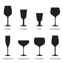 Kitchenware. Different kinds of glasses, names. Silhouettes of wine glasses. Wineglass, sherry glass, rummer, burgundy glass, champagne flute, champagne glass, water goblet, white wine glass.