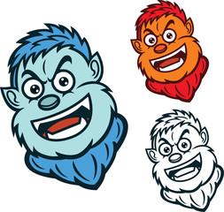 Monster Head Cartoon Illustration