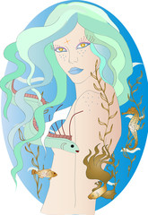Beautiful mermaid with blue hair, golden eyes, blue lips, under the sea with marine creatures