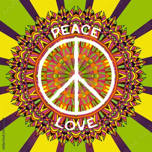 Hippie Peace Symbol Peace And Love Sign On Ornate Colorful Mandala