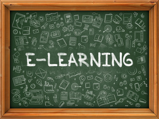 E-learning - Hand Drawn on Green Chalkboard with Doodle Icons Around. Modern Illustration with Doodle Design Style.