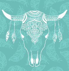 Cow Skull with Feathers isolated on blue background. Boho style. Vector Element for your design. Hand drawn illustration.