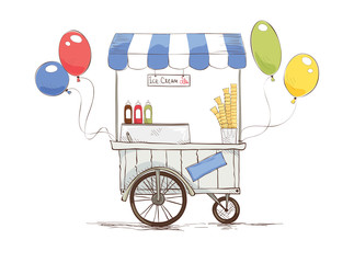 ice cream on wheels./ Vector illustration on the theme of street food.