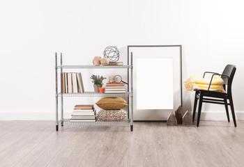 office work corner metal shelving frame and black chair