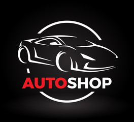 Original auto motor concept design of a super sports vehicle car auto shop logo silhouette on black background. Vector illustration.