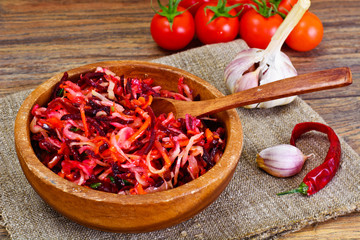 Healthy and Diet Food: Salad with Beets, Onions, Carrots
