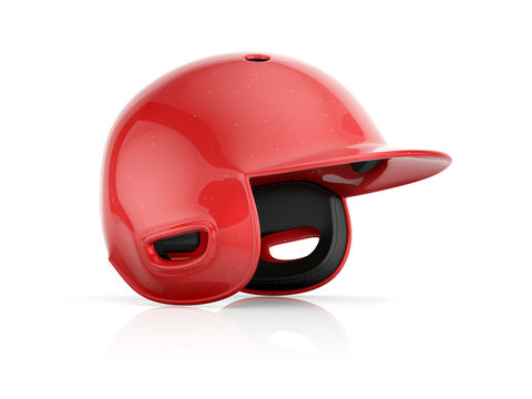 Red baseball helmet isolated on a white background