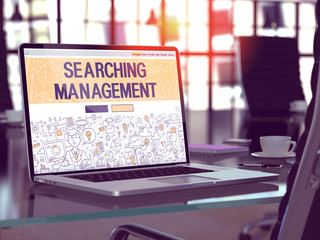 Searching Management Concept Closeup on Landing Page of Laptop Screen in Modern Office Workplace. Toned Image with Selective Focus. 3D Render.
