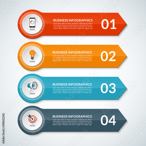 Infographic Ideas buy infographic template : Infographic template in a form of paper arrows. Vector background ...