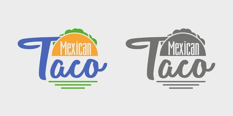 Taco icon or logo concept. Vector dark grey and color icon on light grey background