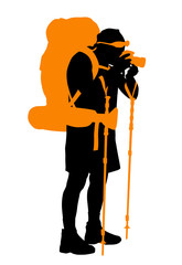 Backpacker taking photos. Vector silhouette