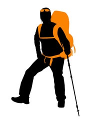 Backpacker vector silhouette