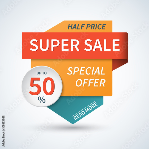Super Sale Banner Sale Template Special Offer Vector Background