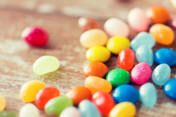 close up of multicolored jelly beans candies