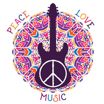 Hippie peace symbol. Peace, love, music sign and guitar on ornate colorful mandala background. Design concept for banner, card, scrap booking, t-shirt, bag, print, poster. Vector illustration