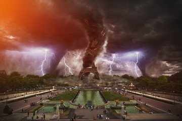 Large tornados destroying the Eiffel Tower