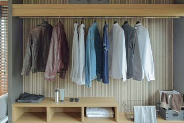 Jackets and shirts in brown color wardrobe