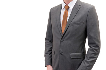 businessman in gray suit isolated on white background.