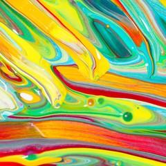 Bunte Malerei/ Gemälde aus Streifen in Rot, Orange, Grün, Gelb und Blau, Gouache, als Hintergrund für Frühling, Sommer oder Herbst