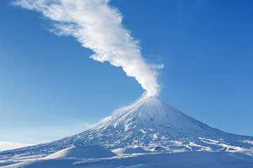 Winter view on eruption active volcano Kamchatka Peninsula