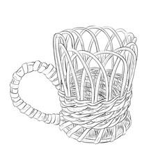 Vector sketch of wicker cup