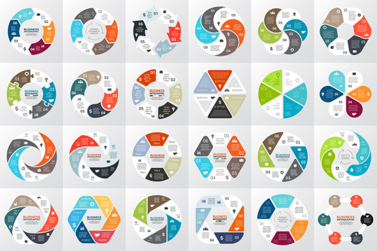 Vector circle arrows infographic, diagram, graph, presentation, chart. Business cycle concept with 6 options, parts, steps, processes. Info graphic data template.
