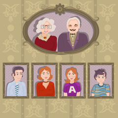 family portraits in frames