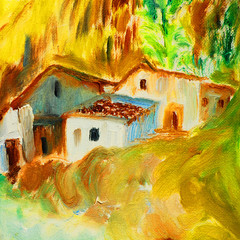 old spanish village in pyrenees, oil painting on canvas, illustration